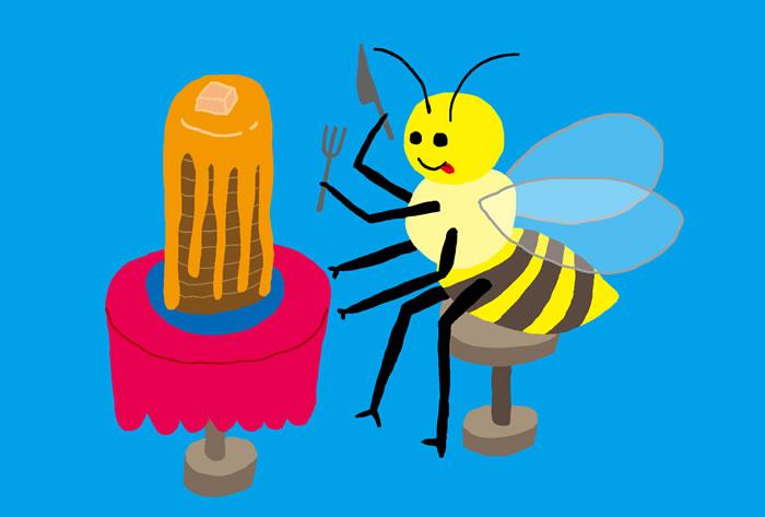 ハチミツパンケーキを食べるミツバチ